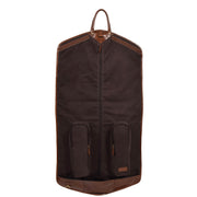 Luxury Leather Suit Carrier Bag Dress Garment Cover Finley Chestnut Front Open