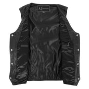 Mens Genuine Cowhide Black Leather Waistcoat Laced Sides Bikers Gilet Capone Lining