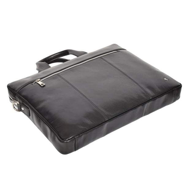 Laptop Briefcase Real Leather Business Bag Messenger Satchel Black Nice Back Letdown