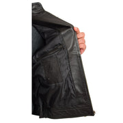 Mens BLACK Leather Biker Jacket Slim Fit Motor Sports Badges Coat Wayne Lining