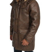 Mens Genuine Sheepskin Duffle Coat 3/4 Long Hooded Jacket Mitchel Brown Feature