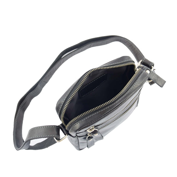 Luxury Black Leather Unisex Cross Body Flight Bag Small Pouch Sunny Open
