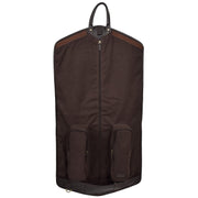 Luxury Leather Suit Carrier Bag Dress Garment Cover Finley Brown Front Open