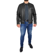 Mens Fitted Black Leather Biker Jacket Zip Fasten Brock Full