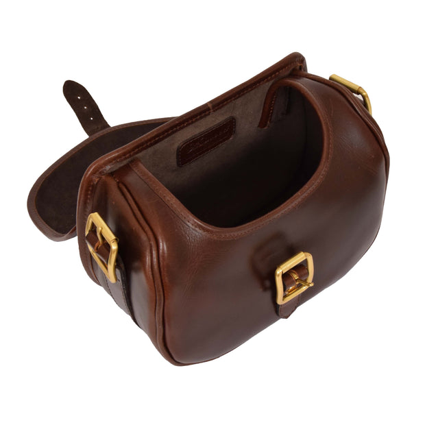 Cartridge Bag Genuine Brown Leather Ammo Shell Pouch Chelsea Open