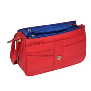 Womens Red Leather Shoulder Messenger Handbag Ada Open 1