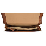 Mens Briefcase Italian Leather Soft Slim Satchel Business Bag Boris Tan Open