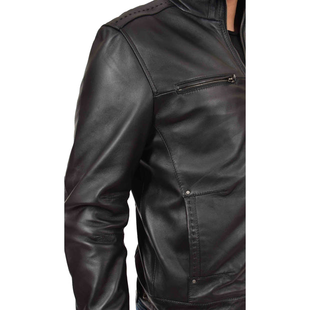 Mens Genuine Leather Biker Jacket Fitted Zip Up Coat Felix Black Feature