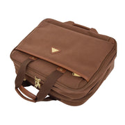 Pilot Case Wheeled Briefcase Camel Faux Suede Business Cabin Bag Stargazer Front Letdown
