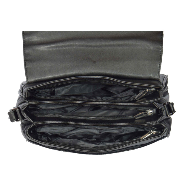 Womens Black Soft Leather Shoulder Cross Body Bag Agnes Open