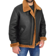 Mens Real Sheepskin Flying Jacket Hooded Brown Ginger Shearling Coat Hawker Open