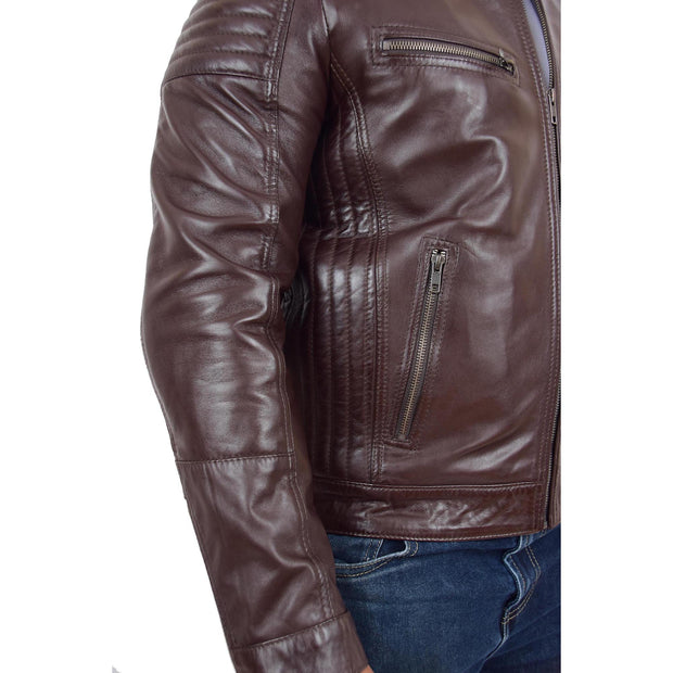 Mens Cafe Racer Biker Leather Slim Fit Jacket Teddy Brown Feature 1