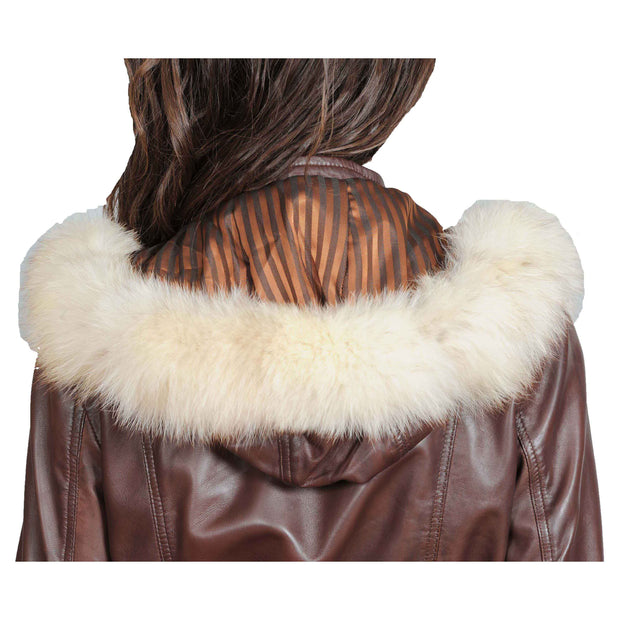 Womens Duffle Leather Coat Detachable Hood 3/4 Long Parka Jacket Mila Brown Back Feature