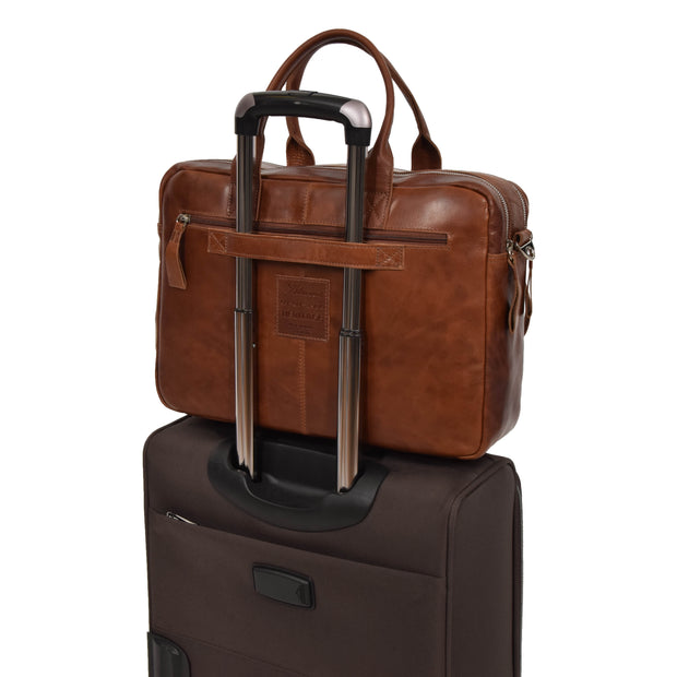 Pure Leather Briefcase Laptop Satchel Office Business Bag Otis Cognac With Trolley
