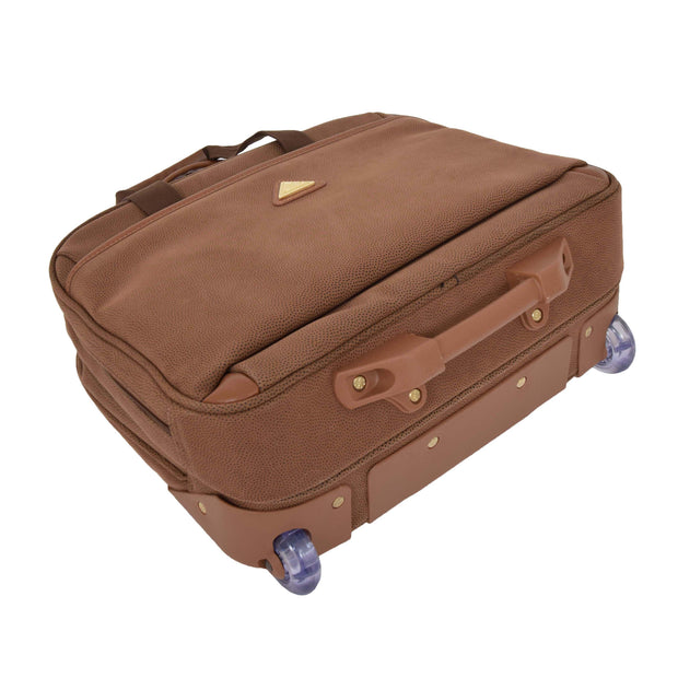 Pilot Case Wheeled Briefcase Camel Faux Suede Business Cabin Bag Stargazer Back Letdown