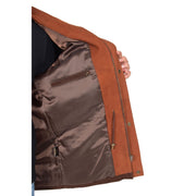 Gents Nubuck Leather Parka Coat Henry Brown lining view