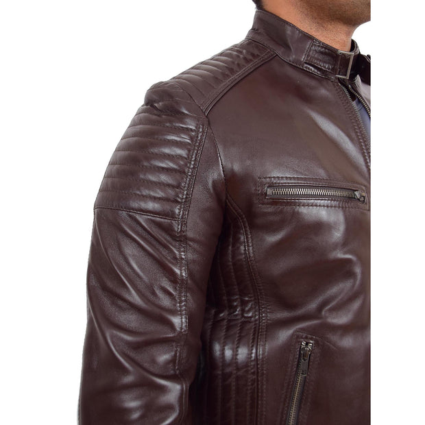 Mens Cafe Racer Biker Leather Slim Fit Jacket Teddy Brown Feature 2