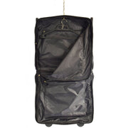 Genuine Leather Garment Dress Suit Carrier A1236 Black Open
