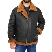 Mens Real Sheepskin Flying Jacket Hooded Brown Ginger Shearling Coat Hawker Front