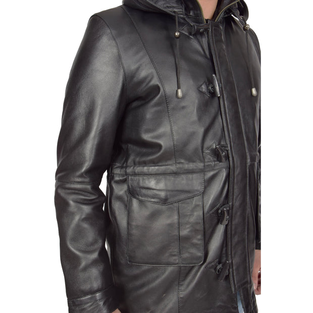 Mens Duffle Leather Coat Classic Horn Toggles Jacket Mack Black Feature