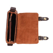 Real Leather Messenger Cross Body Organiser Office Bag Beck Tan Top Open