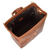 Genuine Leather Doctors Briefcase Gladstone Bag Duke Tan Open 2