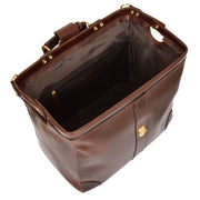 Genuine Leather Doctors Briefcase Gladstone Bag Duke Brown Open 2