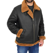 Mens Real Sheepskin Flying Jacket Hooded Brown Ginger Shearling Coat Hawker Front Angle