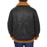 Mens Real Sheepskin Flying Jacket Hooded Brown Ginger Shearling Coat Hawker Back