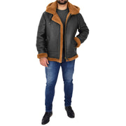 Mens Real Sheepskin Flying Jacket Hooded Brown Ginger Shearling Coat Hawker Full