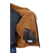 Mens Real Sheepskin Flying Jacket Hooded Brown Ginger Shearling Coat Hawker Lining