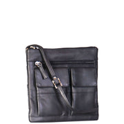 Womens Cross-Body Leather Bag Slim Shoulder Travel Bag A08 Black