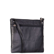 Womens Cross-Body Leather Bag Slim Shoulder Travel Bag A08 Black Back