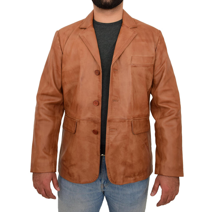 REAL LEATHER CLASSIC BLAZER FOR MENS SMART
