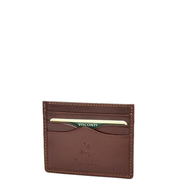 Real Leather Compact Card Wallet Small Slim Oysters Card Holder AVT1 Brown