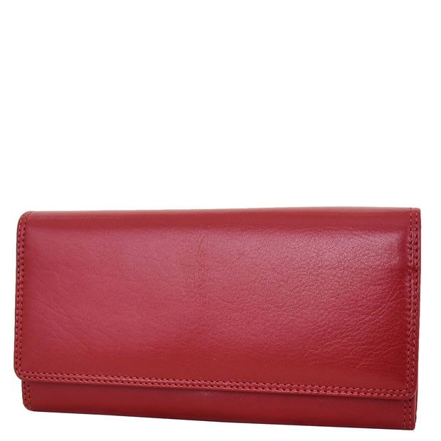 Womens Soft Leather Clutch Purse Envelope Style Wallet AVT3 Red