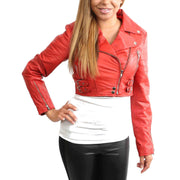 Womens Fitted Cropped Bustier Style Leather Jacket Amanda Red