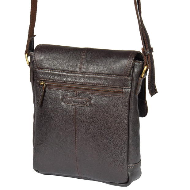 Mens Real Leather Cross body Messenger Bag A224 Brown Front