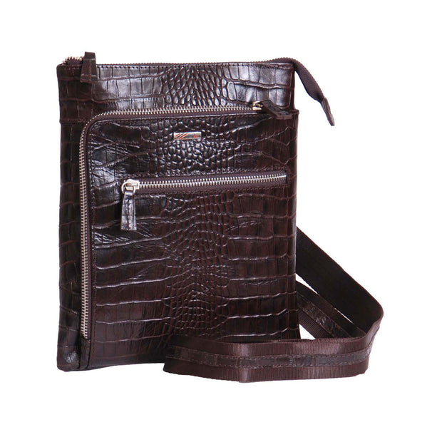 Mens Genuine Leather Slim Cross Body Croc Print Shoulder Bag AA59 Brown Front With Belt