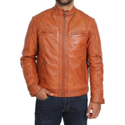 Gents Fitted Biker Leather Jacket Django Cognac Front