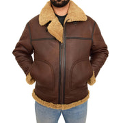 Mens Brown Real Sheepskin B3 Flying Bomber Jacket Shearling Aviator Pilot Coat Larry Front 1