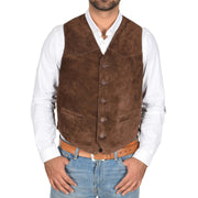 Mens Real Suede Leather Waistcoat Classic Vest Gilet Cole Brown