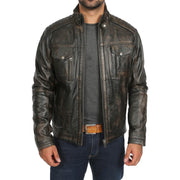 Mens Fitted Washed Biker Vintage Leather Aron Rub Off