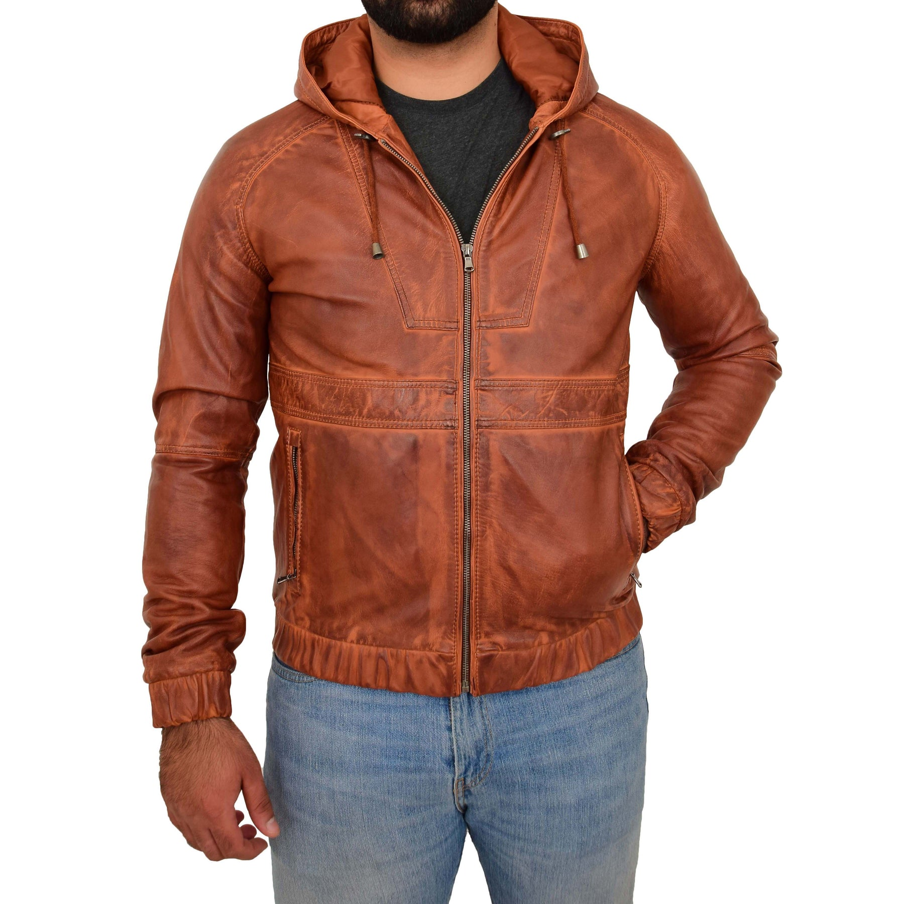 REAL TAN LEATHER BOMBER HOODIE JACKET