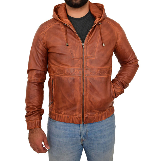 MENS REAL TAN LEATHER BOMBER HOODIE JACKET