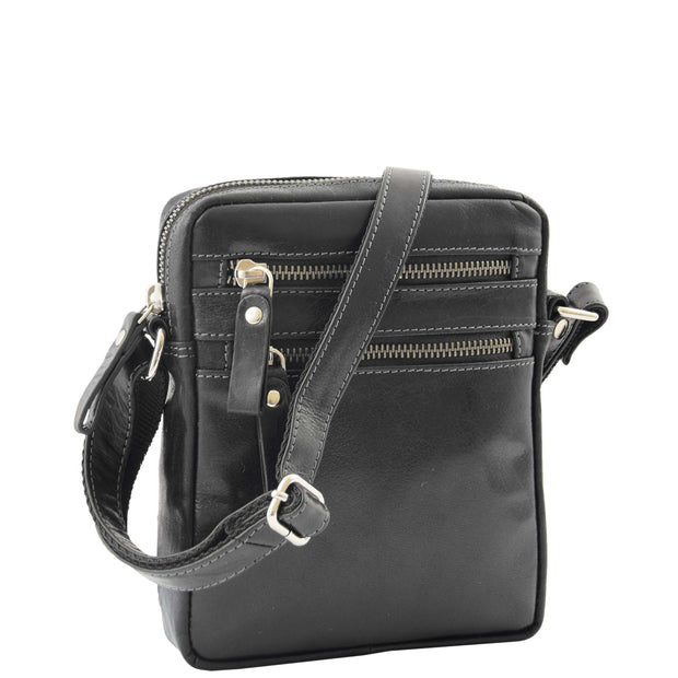 Luxury Black Leather Unisex Cross Body Flight Bag Small Pouch Sunny Front 3