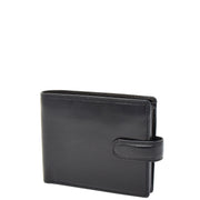 Mens Genuine Italian Leather Snap Closure Wallet AVZ5 Black Front