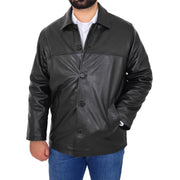 Gents Real Leather Button Box Jacket Classic Regular Fit Coat Luis Black Front 1