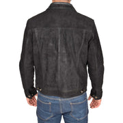 Mens Real Soft Goat Suede Trucker Denim Style Jacket Chuck Black Back