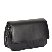 Womens Black Leather Shoulder Messenger Handbag Ada Front Angle